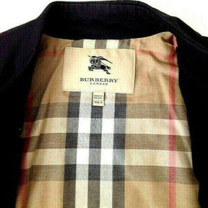BURBERRY Navy Silver Buttons  Short Trench Coat